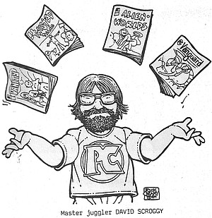 David Scroggy drawn by Matthew Alice cartoonist Rick Geary for the cover of a Comics & Comix catalog, The Telegraph Wire #15