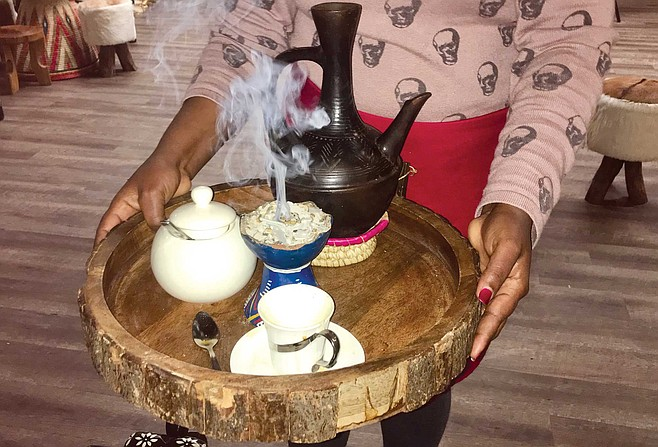 Coffee with Frankincense and myrrh at Addis Ethiopian Restaurant