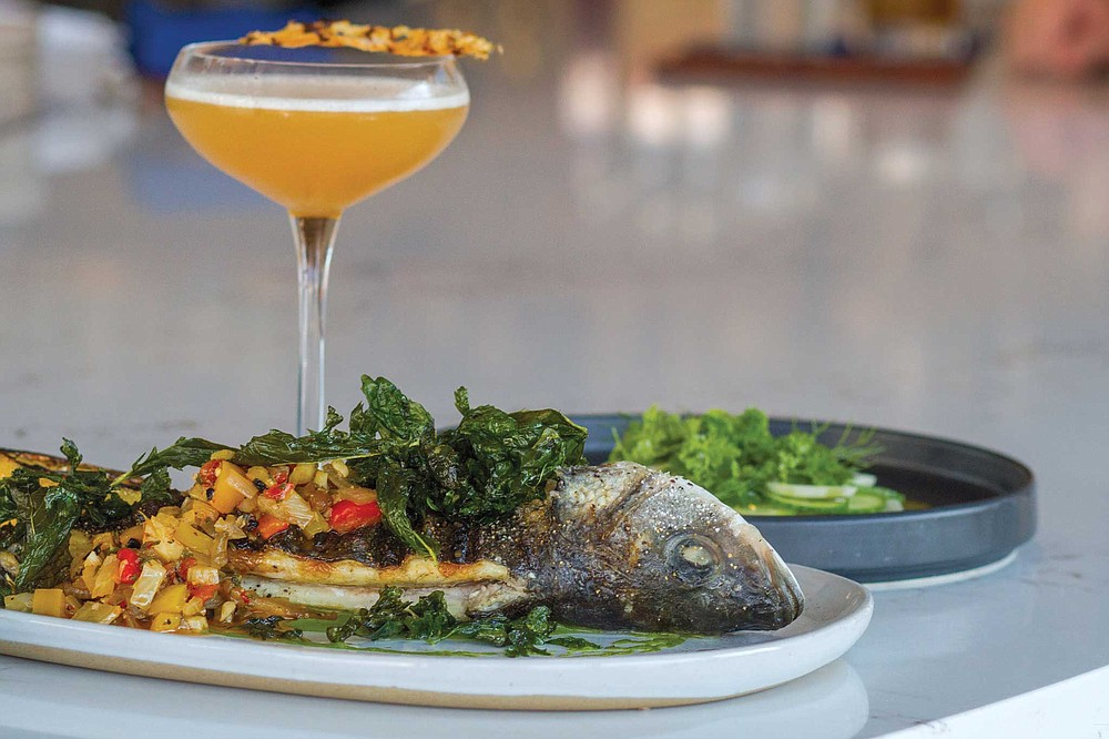 Fort Oak's Branzino is served whole, but with pieces separated for easy sharing