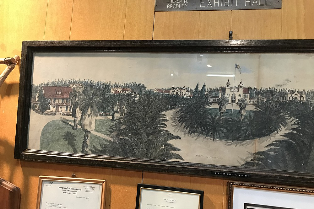 """Painting of school in """"glory"""" days. It was demolished in 1970s"""
