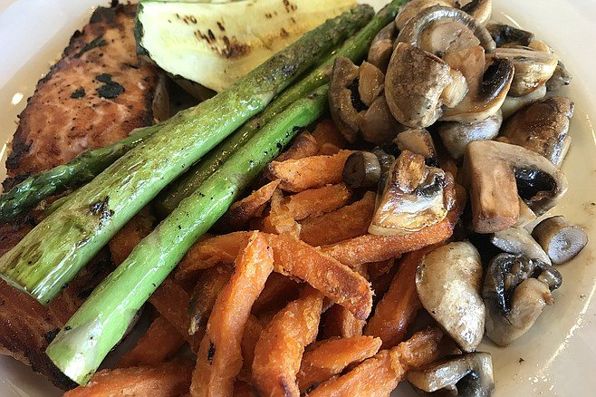 Hank's salmon, with squash, asparagus, sweet fries, and shrooms, $13