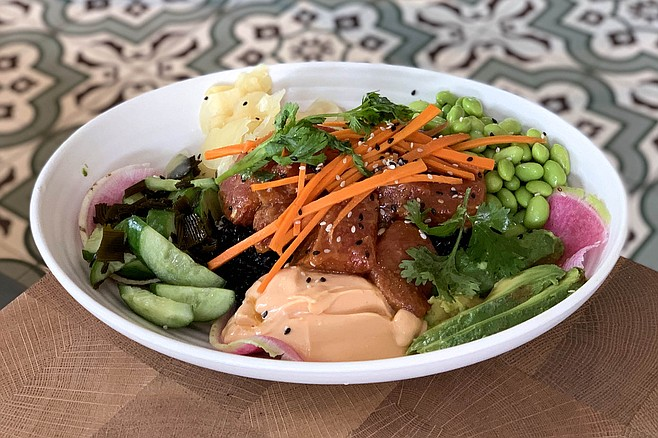 A vegan poke bowl made of watermelon instead of raw fish