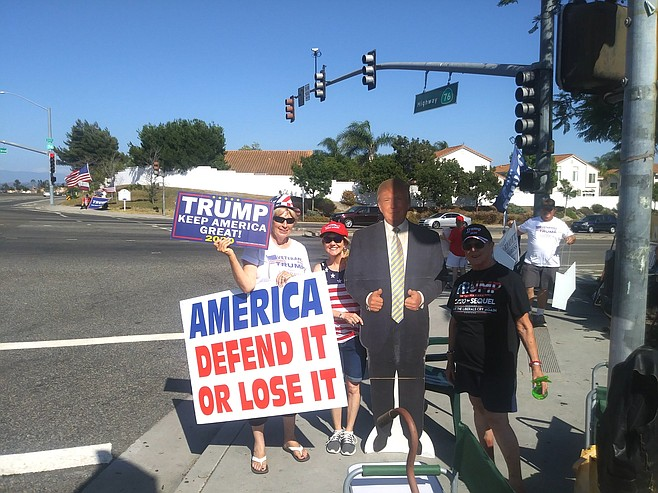 The Oceanside Police have no issue with their signs and life-size Trump cut-outs.
