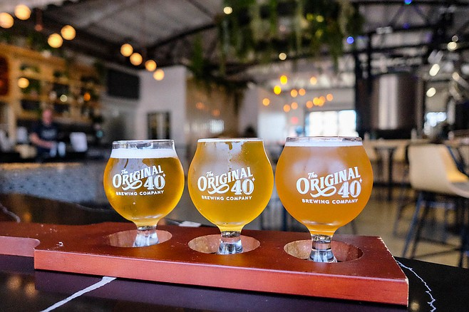 A flight of lager, kettle sour, and IPA at new North Park brewpub, The Original 40 Brewing.