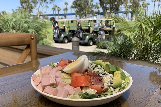 A cobb salad is about as exciting as golf carts, but good enough in this soothing golf course atmosphere.