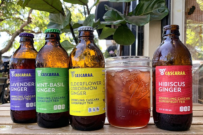 Hibiscus ginger sparkling coffee fruit tea, one of several other Cascaraa flavors