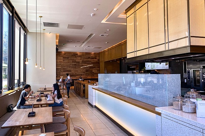 An open kitchen and stylish fast casual location at Fashion Valley mall