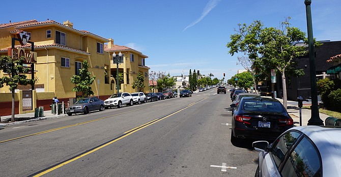 30th Street north of El Cajon Blvd., part of new segment of the bike lanes that stretch from Howard to Adams.