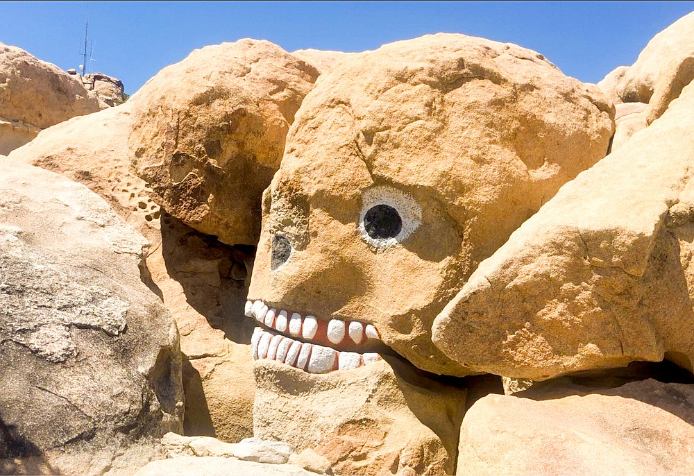 Skull Boulder. Maintenance of Boulder Park might involve paint touch-up on the original 1930s sculptures.