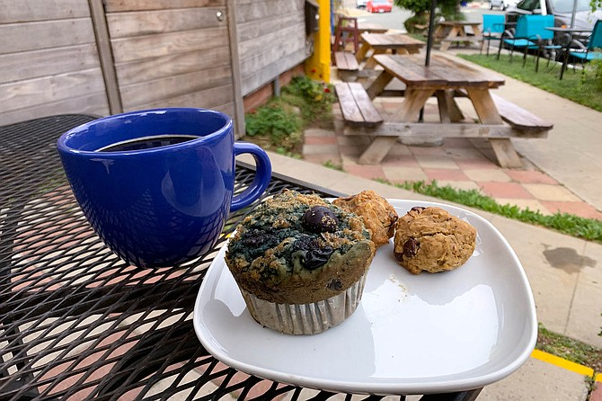 Vegan blueberry cherry muffin and chocolate chip cookie balls