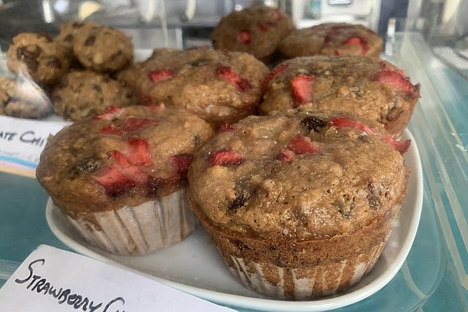 A case of strawberry cherry ginger muffins