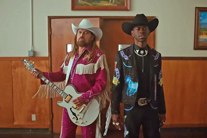 """Billy Ray Cyrus and Lil Nas X from """"Old Town Road"""" video"""