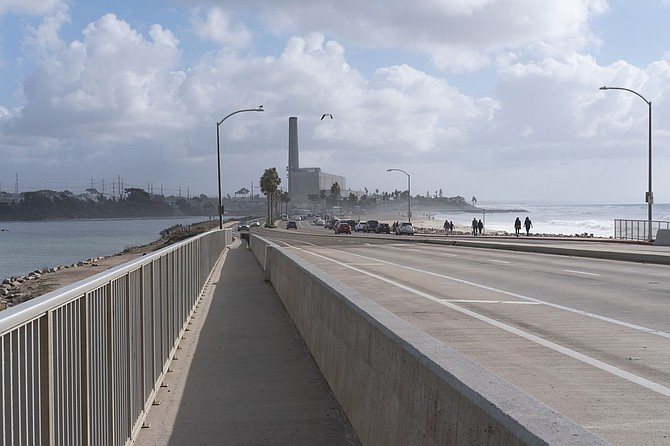 Carlsbad Boulevard has a Class II bike trail as it crosses Hedionda Lagoon.