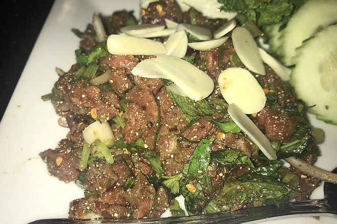 Spicy raw beef. Take with Elephant Beer, Thai whiskey, and care