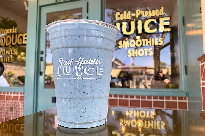 Blue spirulina brings color to the banana, almond milk, and bee pollen smoothie.