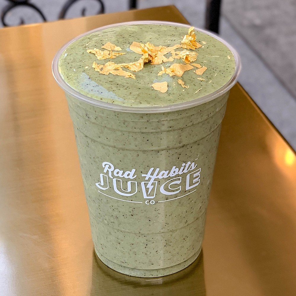Gold flakes dress up the superfood-rich Wanna Be a Baller, South Park's priciest smoothie.