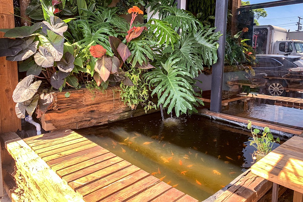 This Pacific Beach restaurant has a koi pond on its patio.