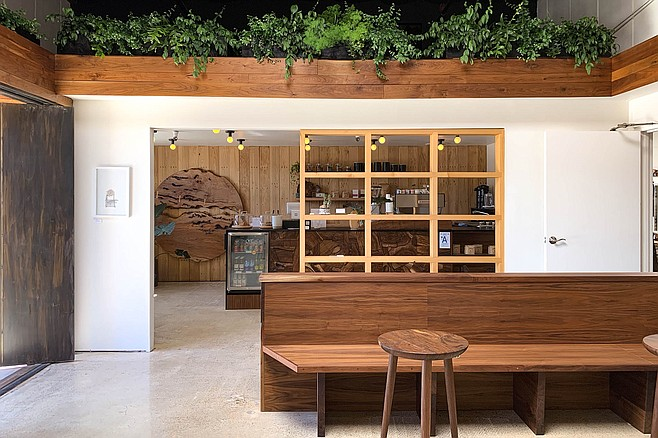 A surprisingly nice coffee bar for a lumber warehouse