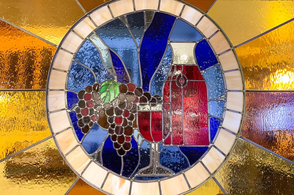 A stained glass artwork in Lido's Italian, in Lemon Grove