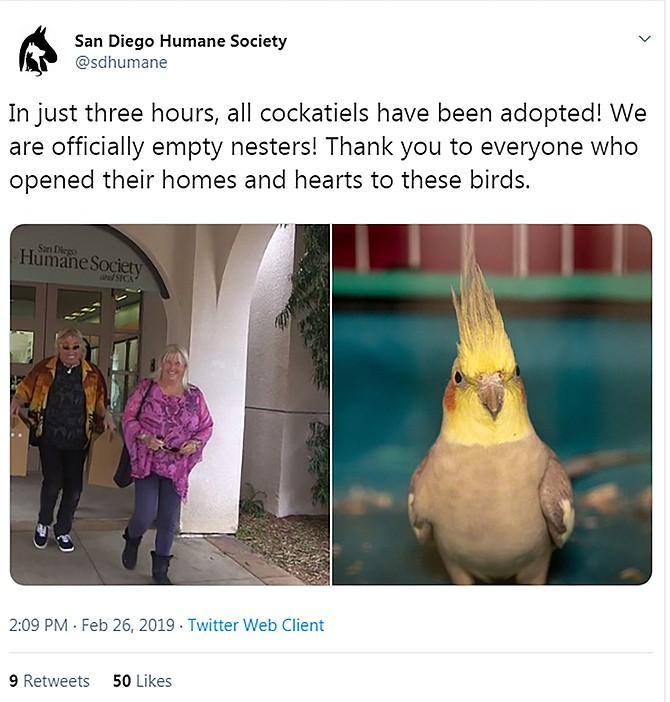This Humane Society tweet shows it didn't take long to find homes for the formerly aparment-bound birds.
