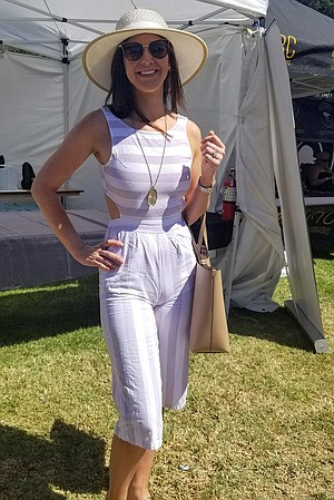 Her jumpsuit was a steal, but Danielle doesn't cheap on designer accessories.