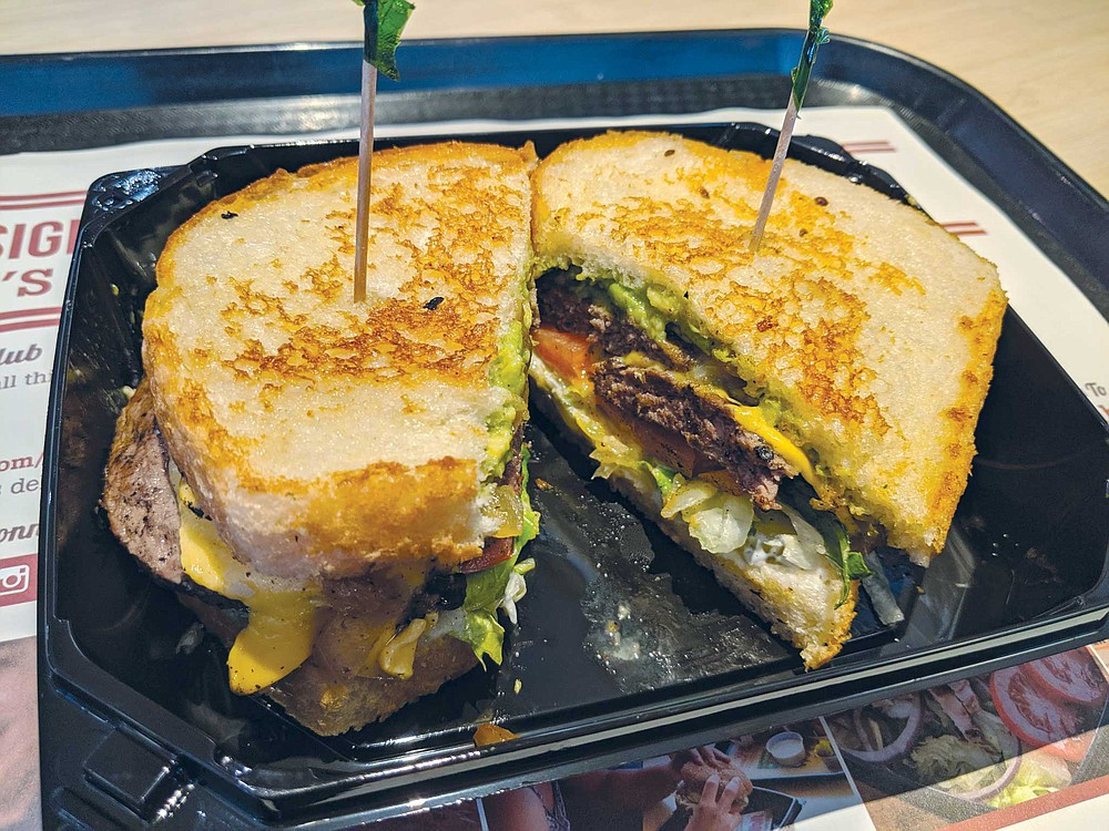 The Habit's Santa Barbara; a double charburger with avocado and cheese on sourdough bread.