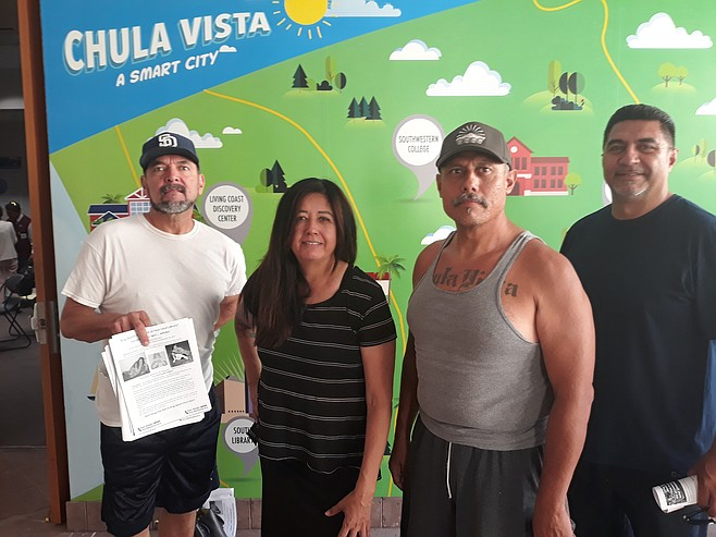 Chula Vistans Freddy Seaman, Martha Souza, Eddie Rios, and Ernie Felix were among the prostesters.