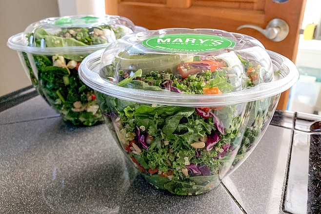 Two packaged salads delivered by Mary's Gourmet Salads