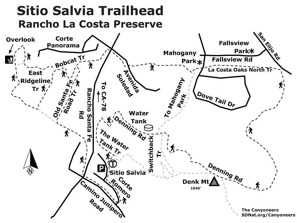 Sitio Salvia Trailhead map
