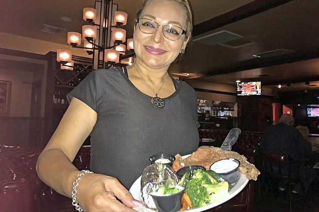Pilar with my prime rib dinner
