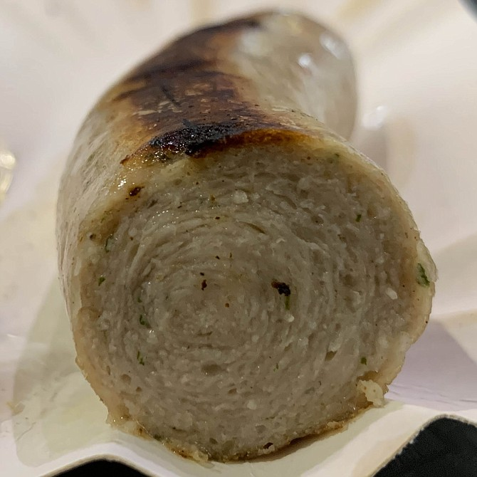 A finely minced pork and veal bratwurst