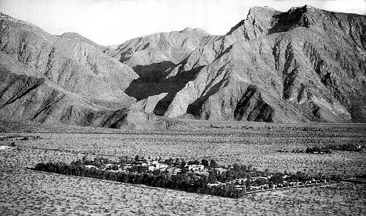 Borrego Springs, oasis-small, sits in an open valley like a tiny jewel in an elegant setting.