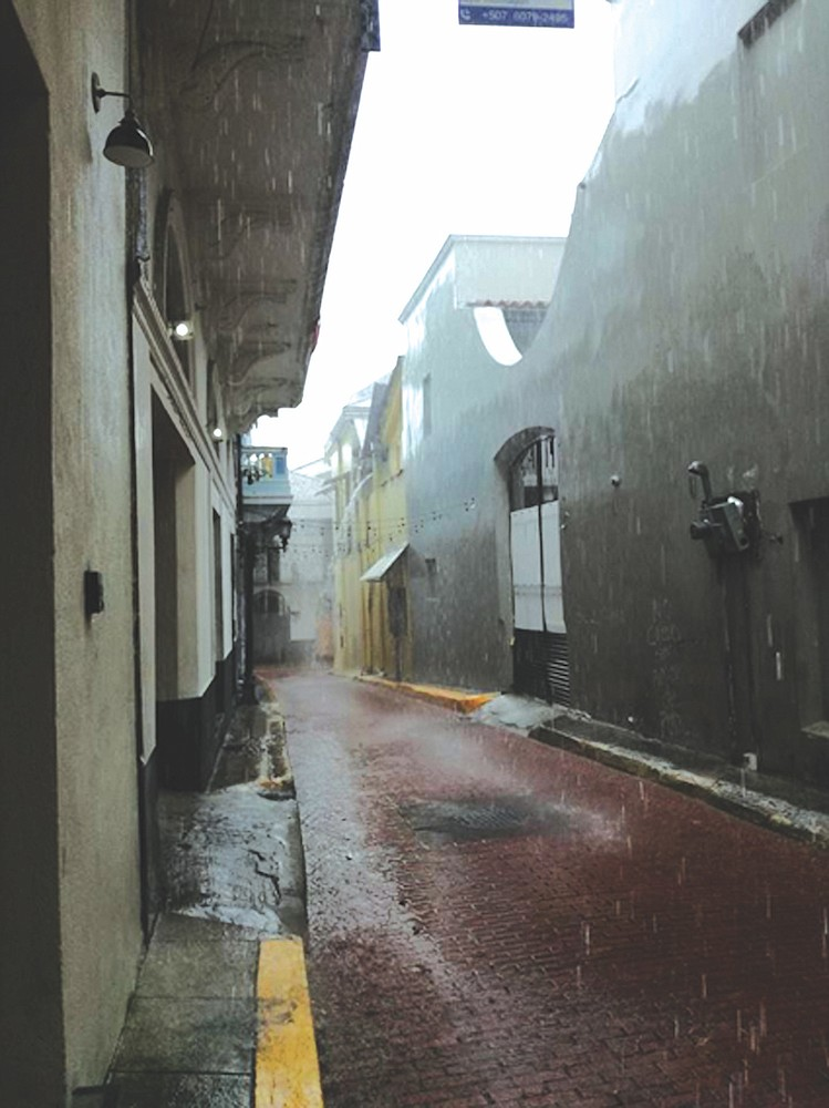 Panama City's Casco Viejo neighborhood in the rain.