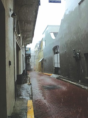 Panama City's Casco Viejo neighborhood in the rain.