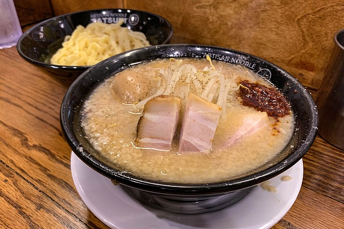 Tsukemen ramen, with the noodles served on the side