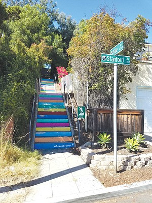La Mesa is one of the few neighborhoods inside of San Diego that is connected by an infrastructure of concrete stairs. One set of rainbow-hued steps connects Stanford to West Point in University Park.