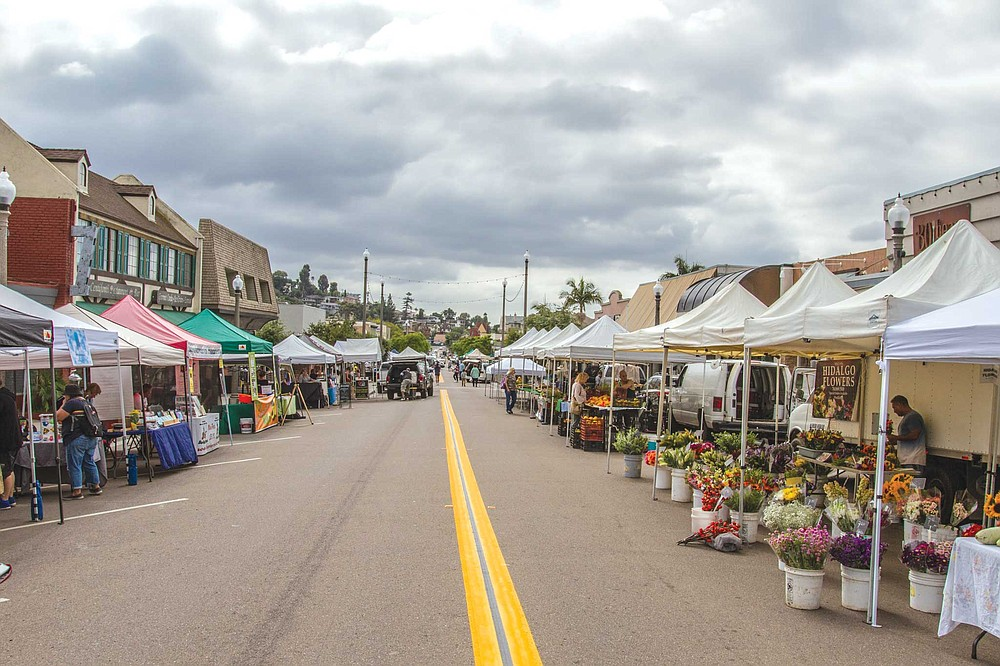 On Friday afternoons, a block-long stretch of La Mesa Blvd. in the Village is given over to a small farmer's market.