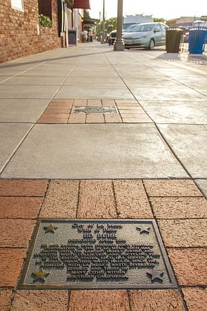 The Walk of Fame consists of small bronze plaques embedded in Village sidewalks. Names include auto dealer Elmer Drew, EDCO founder Ed Burr, and shuttle astronaut Ellen Ochoa.