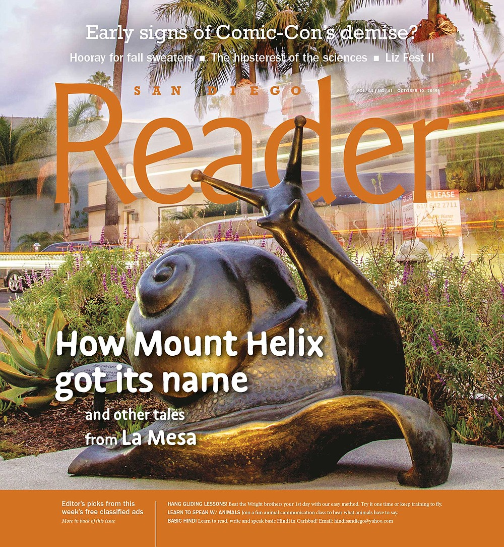 A large bronze garden snail named Felix the Helix commemorates the discovery of a snail species, Helix aspersa, in La Mesa.