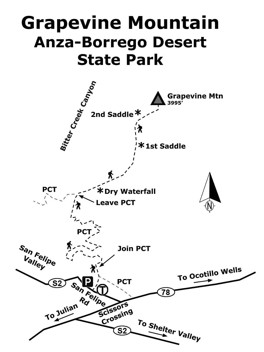 Grapevine Mountain map