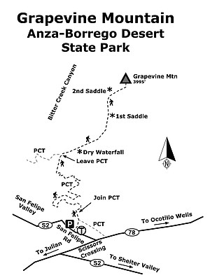 Grapevine Mountain map