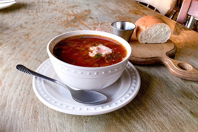 Borscht and bread service, just like back in the U.S.S.R.