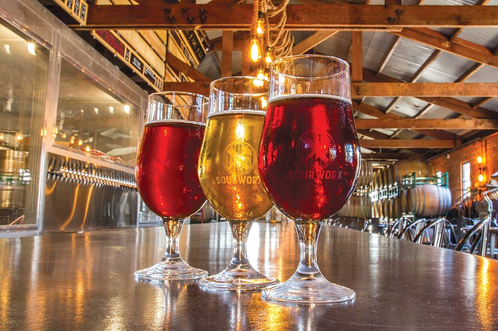 At Helix Brewing's offshoot Sourworx, wild yeast and souring bacteria transform gold, red, and dark ales into puckering concoctions swimming with fruitlike acidity and varying degrees of funky complexity, with no two barrels yielding exactly the same result.