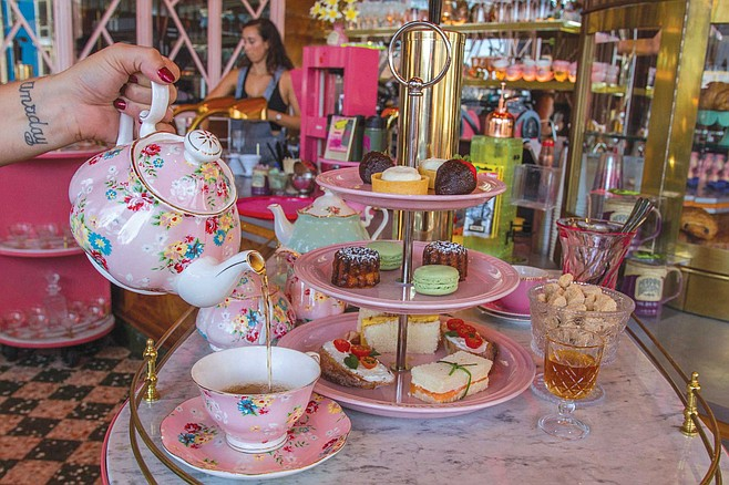 Morning Glory earns extra points for offering traditional English tea service: tea with a three tiered platter of devil's eggs, pastries, macarons, and little finger sandwiches with the crust cut off.
