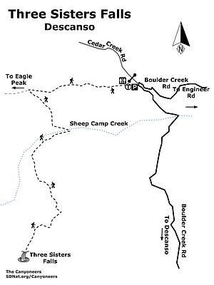 Three Sisiters Falls map