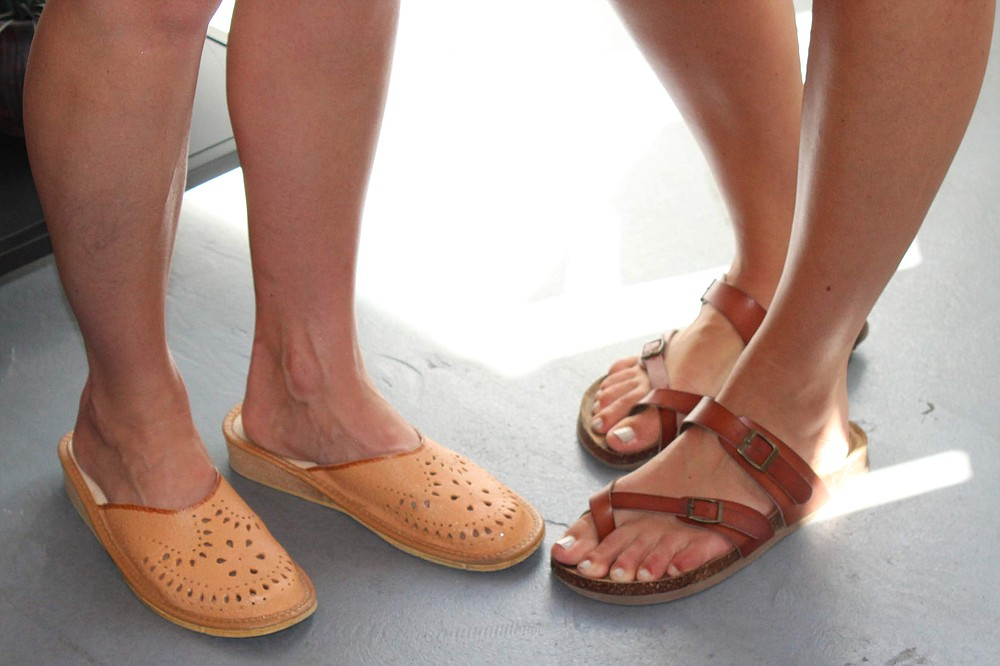 """Handmade leather clogs from Etsy and """"knock-off Birkenstocks"""""""
