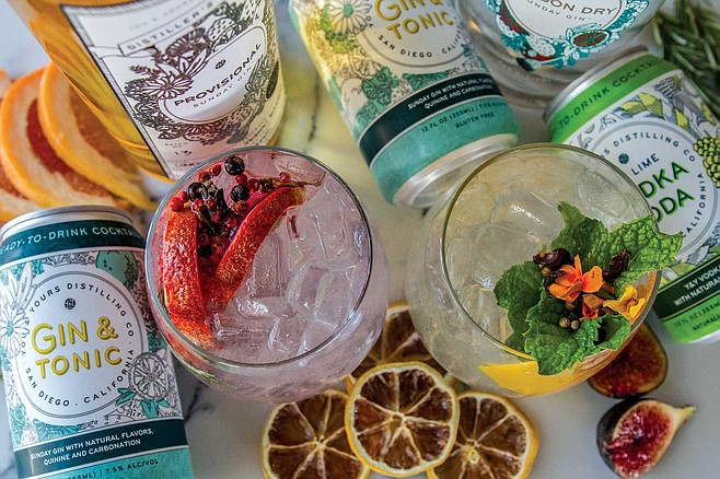 At You & Yours, the Sunday Gin gives the spirit a modern, So Cal spin. It's produced with neutral grape spirits, valencia orange and grapefruit rinds, coriander, rose hips, and cracked juniper.
