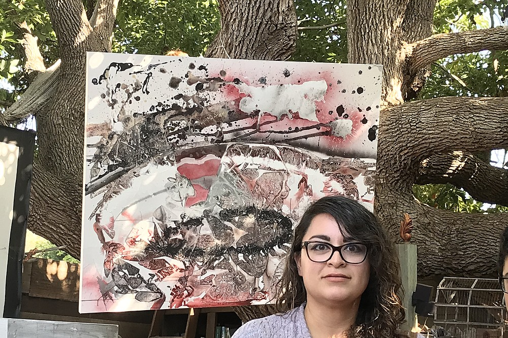 Alejandra, new painting, old tree