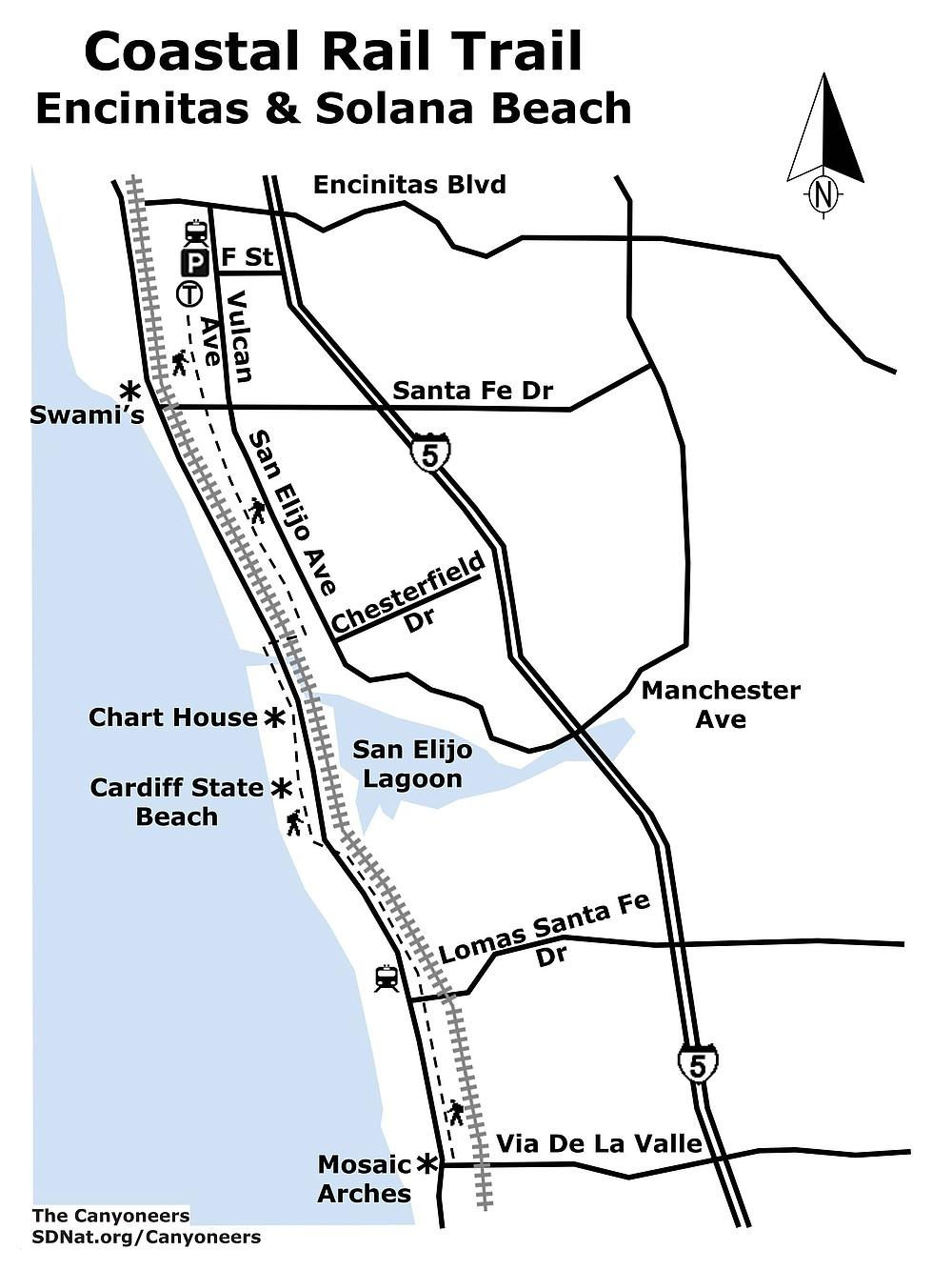 Coastal Rail Trail Encinitas to Solana Beach map