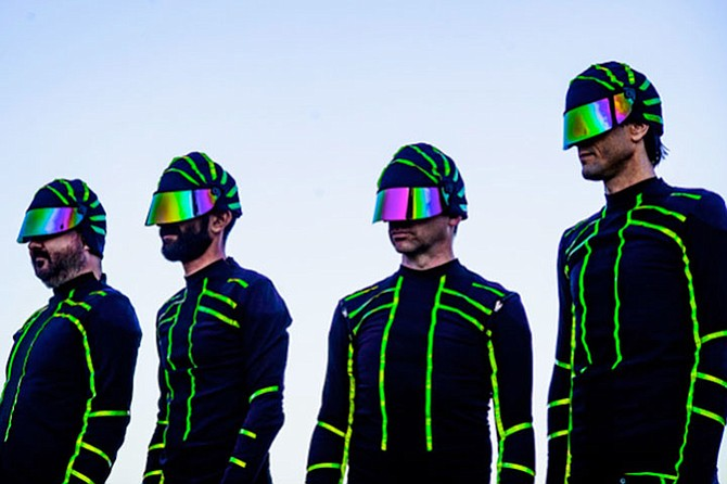 The Locust — reunited and rocking new Tron-meets-Devo insectoid suits.